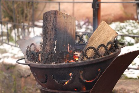 Warming fire in a fire bowl Stock Photo