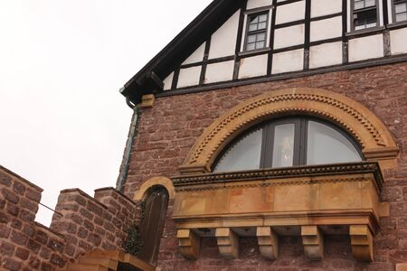 Historic building with arched windows on the Wartburg near Eisenach