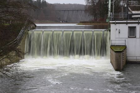 Overflow of the reservoir of the Möhnetalsperre after days of rainfall