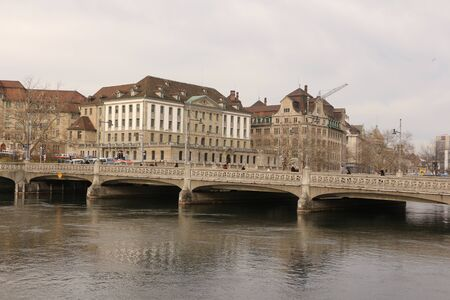 View across the river Limmat to the old town of Zurich