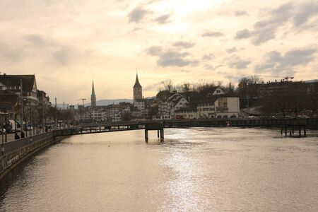 View over the river Limmat and the old town of Zurich