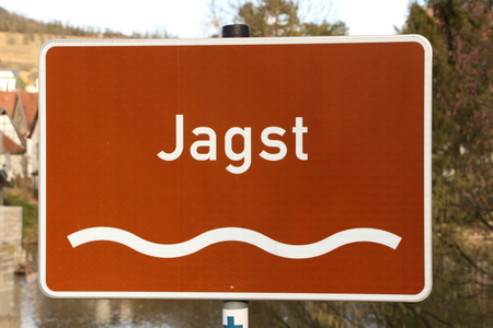 Name tag of the river Jagst in the Jagsttal Stock Photo