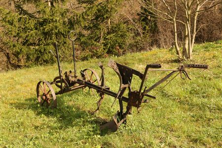 Old plow in the vineyards of Enkirch on the Moselle