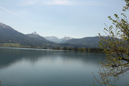 View from St. Wolfgang over the Wolfgangsee and the surrounding mountains Stock Photo