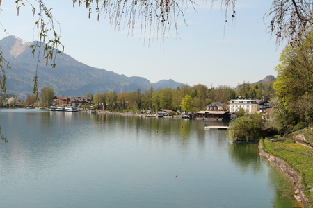 View from St. Wolfgang over the Wolfgangsee towards Ried, a district of St. Gilgen