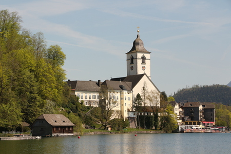View of St. Wollfgang on Wolfgangsee with the parish church