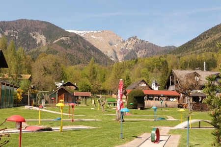 View over the miniature golf course from St. Wolfgang am Wolfgangsee to the Schafberg Stock Photo