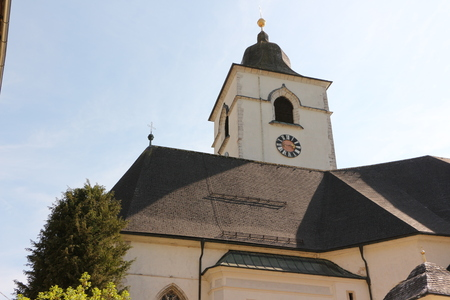 View of the parish church in the center of St. Wolfgang in the Salzkammergut