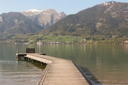 View over the Wolfgangsee on St. Wolfgang and the Schafberg