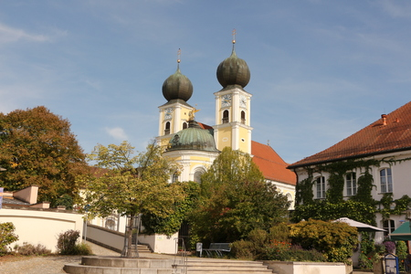 View of the monastery church of Kloster Metten in Bavaria