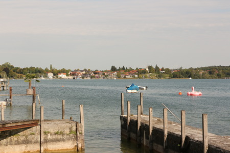 Small boat mooring on the Fraueninsel in the Chiemsee Stock Photo