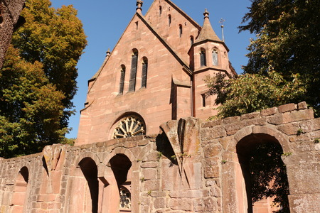 View of the remains of the old cloister and the Marienkapelle in Hirsau Abbey in the Black Forest