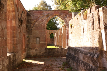 Remains of the old cloister in Hirsau Monastery in the Black Forest