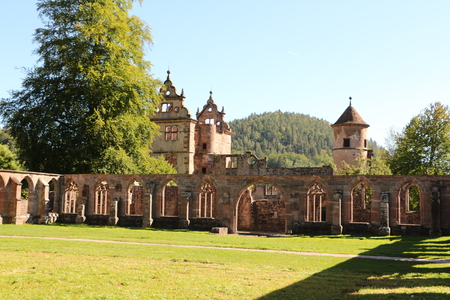 View of the old cloister and the former hunting lodge in Hirsau monastery in the Black Forest