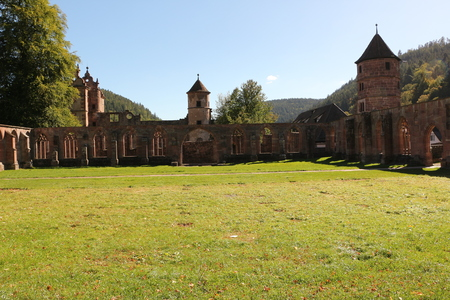 View of the former cloister and the former hunting lodge in Hirsau Abbey in the Black Forest