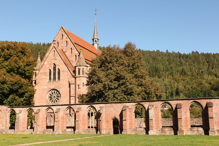 View of the former cloister and the Marienkapelle in the monastery Hirsau in the Black Forest