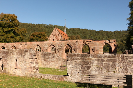 Old walls on the monastery grounds of Hirsau Monastery in the northern Black Forest