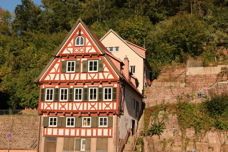 Old half-timbered house in the center of Calw in the Black Forest Imagens