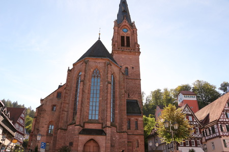 The city church in the center of Calw in the Black Forest