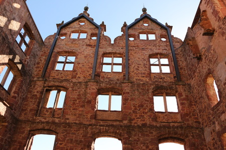 View of the outer walls of the former hunting lodge on the monastery grounds of Hirsau Abbey in the Black Forest