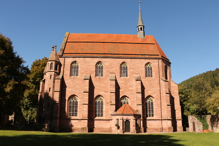View of the Marienkapelle on the monastery grounds of Hirsau Abbey in the Black Forest