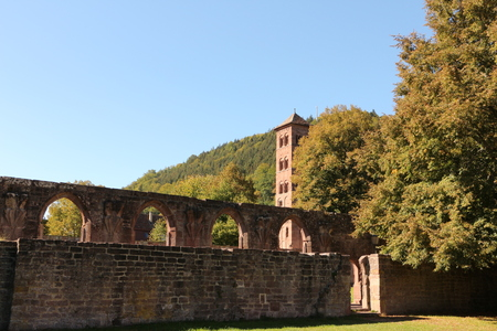 Old walls on the monastery grounds of Hirsau Monastery in the Black Forest