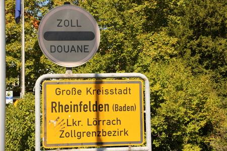 Entrance sign of the city of Rheinfelden (Baden) in Baden W?rttemberg Banco de Imagens