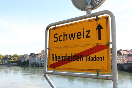 Ortsausgangsschild the city of Rheinfelden (Baden) in Baden W?rttemberg Imagens