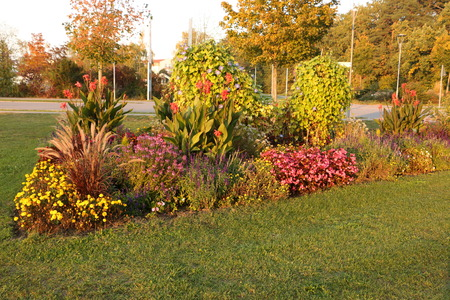 Colorful flowerbed in the center of Bad G?gging