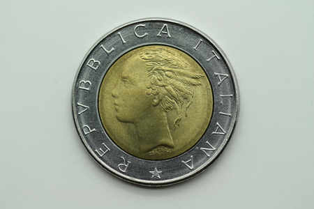 Back of the former 500 Lira coin from Italy Stok Fotoğraf
