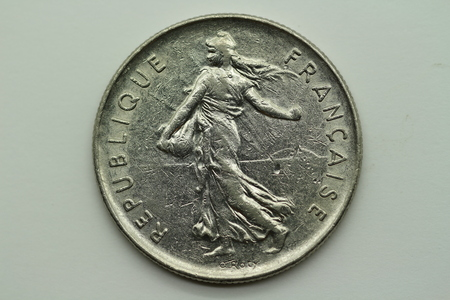Back of the former 5 franc coin from France Banco de Imagens