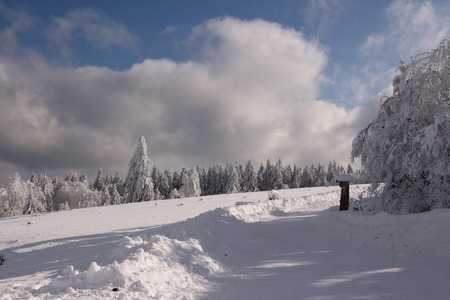 Snowscape on the Kahler Asten in Winterberg, a winter sports resort in the Sauerland