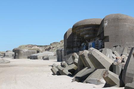 Old bunker ruin on the beach of Loekken in the north of Denmark