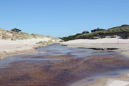 Small stream in the North Sea on the beach of L?kken in the north of Denmark Stock Photo
