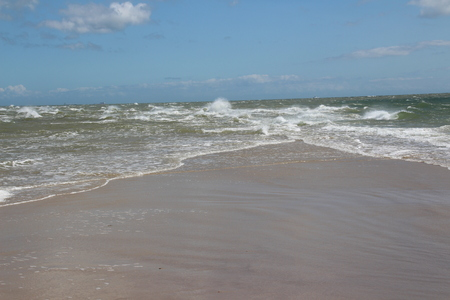 The confluence of the North Sea and Baltic Sea in Skagen in northern Denmark