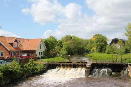 Barrage on a river in Saeby in the north of Denmark