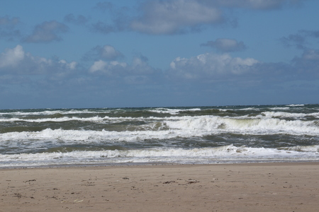 Churning North Sea at Blokhus in Northern Denmark Stock Photo