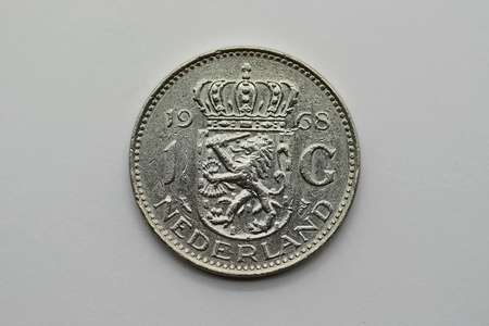 Front of the former 1 guilder coin from Holland Banco de Imagens