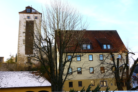 View of the rogue tower in the old town of Horb am Neckar