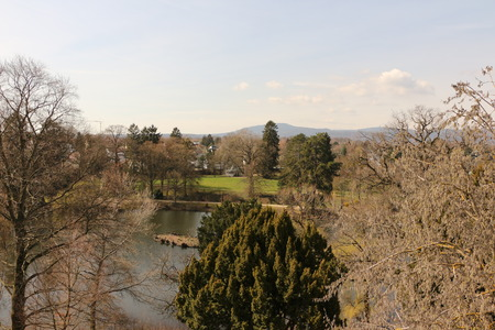 View into the castle park of Schloss Homburg in the center of Bad Homburg vd H?he