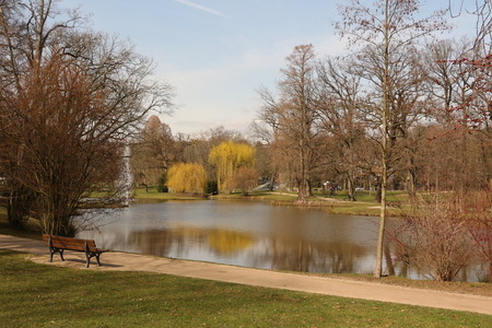 Lake in the spa park of Bad Homburg in the Taunus