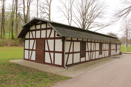 Former pump house in the historic brine conveyor system in the spa gardens of Bad Rappenau