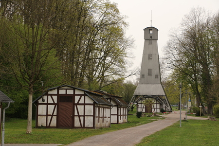 Former pump house and derrick in the historic brine conveyor system in the park of Bad Rappenau