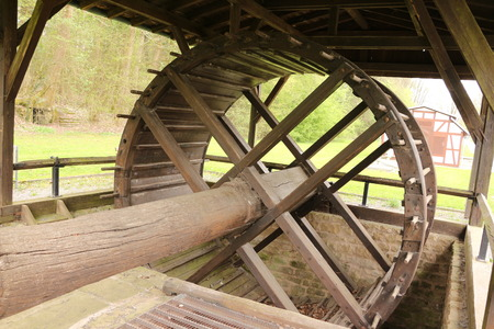 Historic pedal bike in the former brine conveyor system in the spa gardens of Bad Rappenau