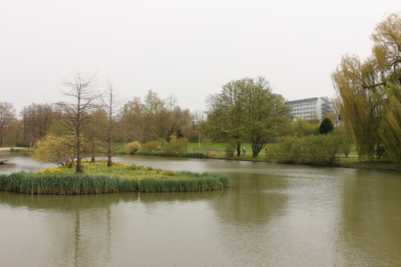 Small lake in the spa park of Bad Rappenau