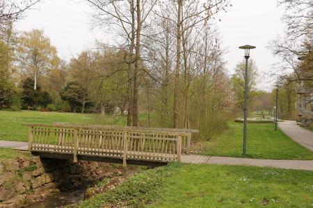 Small wooden bridge in the spa park of Bad Rappenau