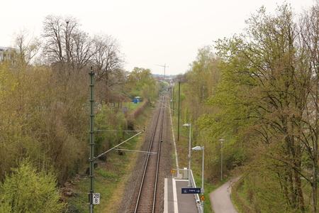 Railway line through the spa park of Bad Rappenau