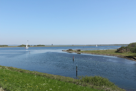 View of the harbor entrance of Brouwershaven in Holland