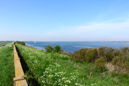 View over the dike to the Grevelingenmeer