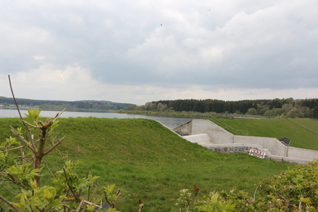 View of the dam with overflow of the Krombachtalsperre in the Westerwald